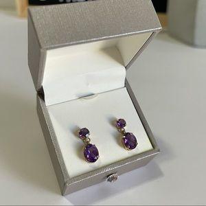 Amethyst & Gold Dangle Gemstone Earrings